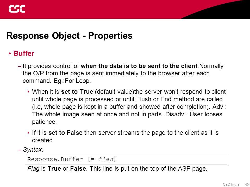 Response Object - Properties