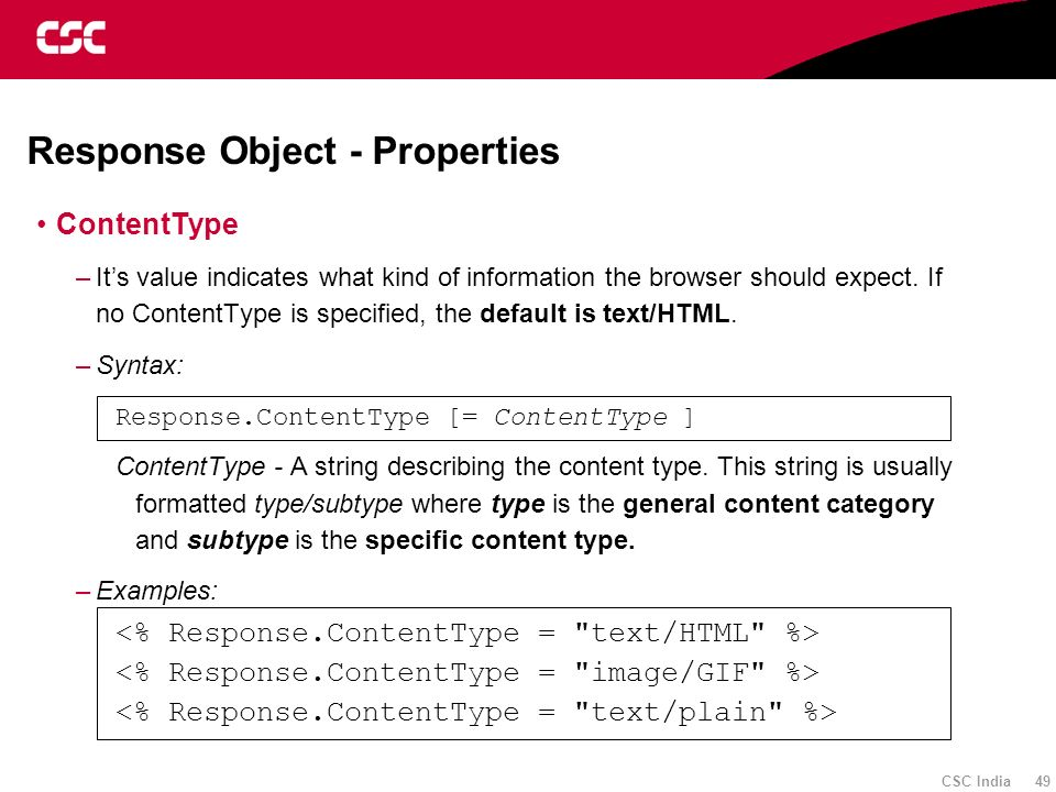 Response Object - Properties