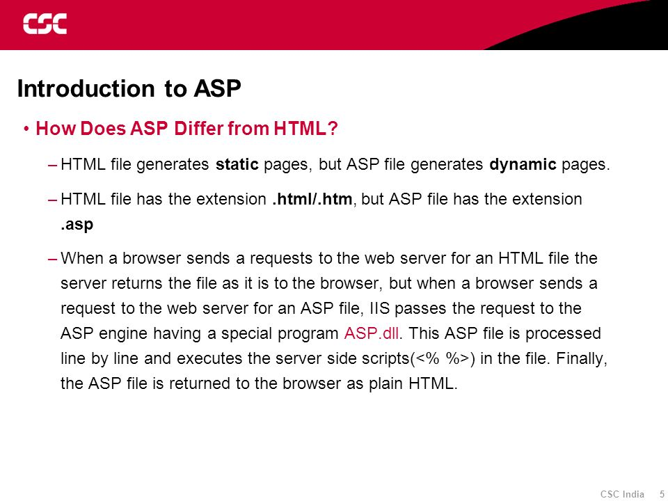 Introduction to ASP How Does ASP Differ from HTML