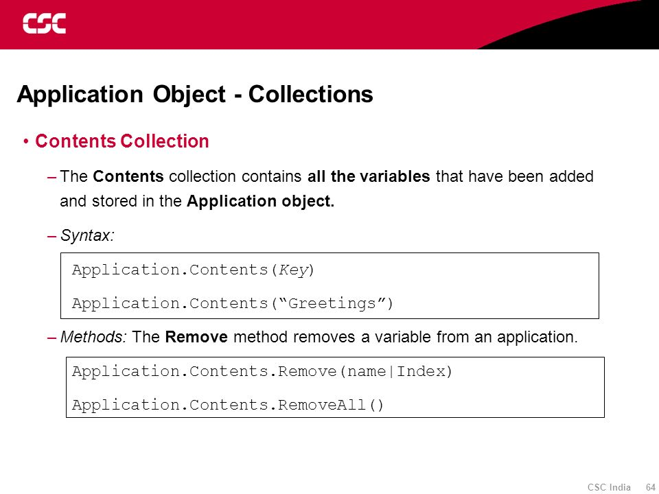 Application Object - Collections