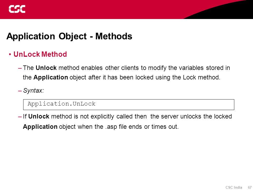 Application Object - Methods