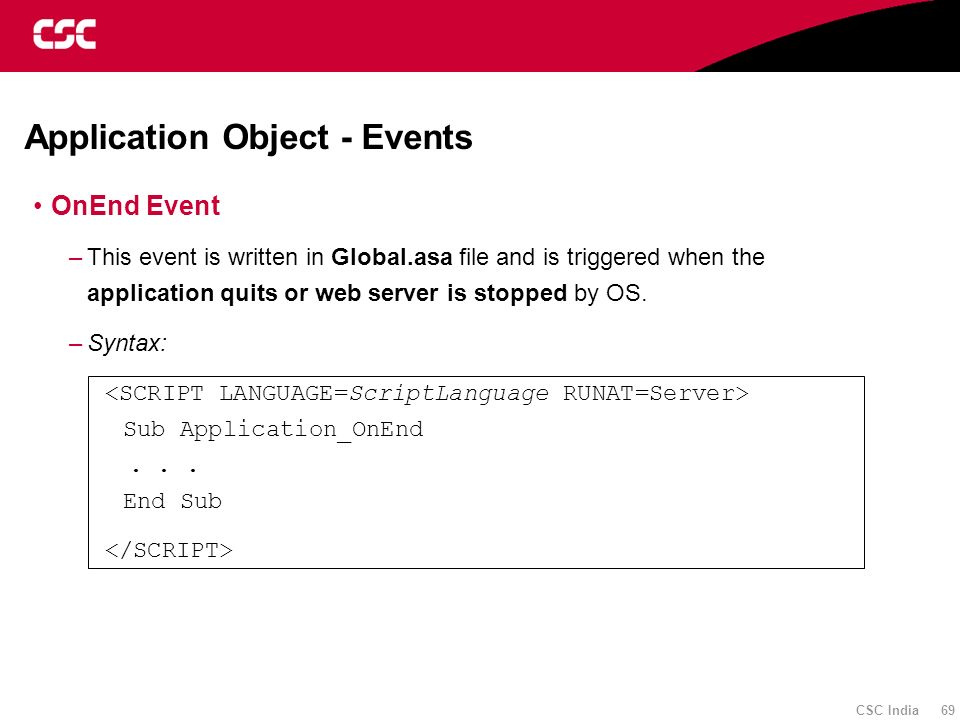 Application Object - Events