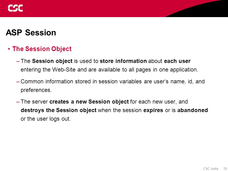 ASP Session The Session Object