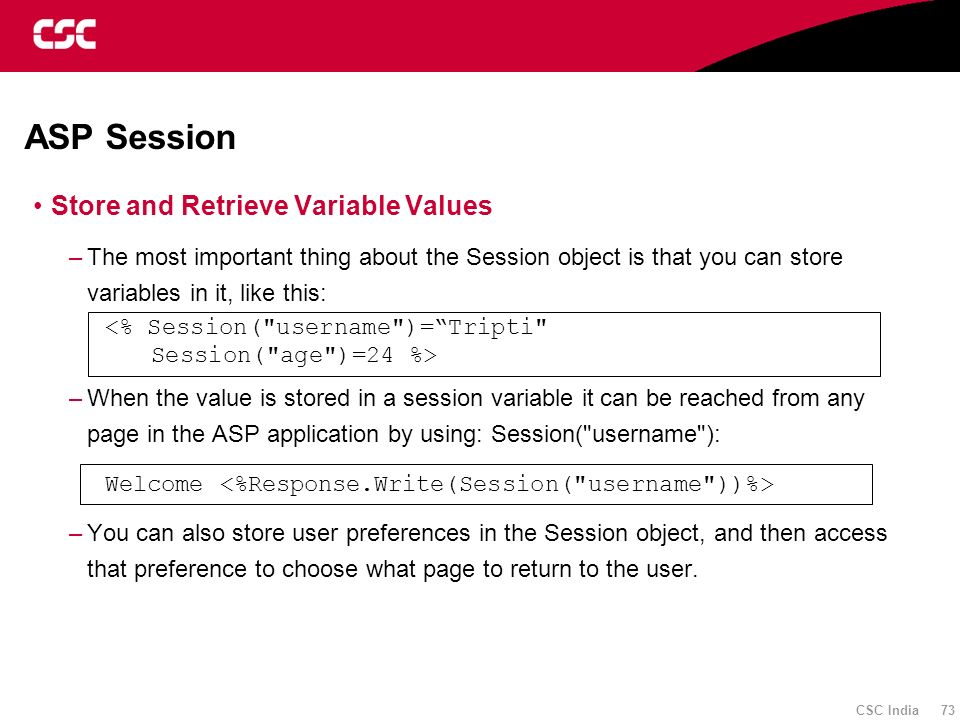 ASP Session Store and Retrieve Variable Values