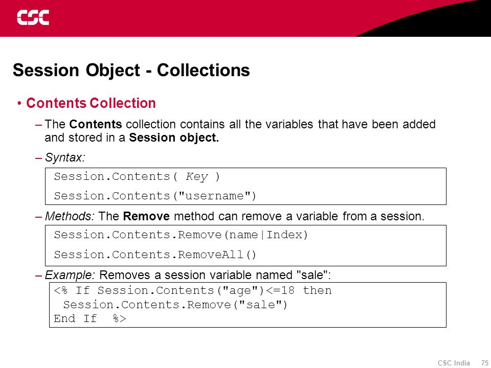 Session Object - Collections