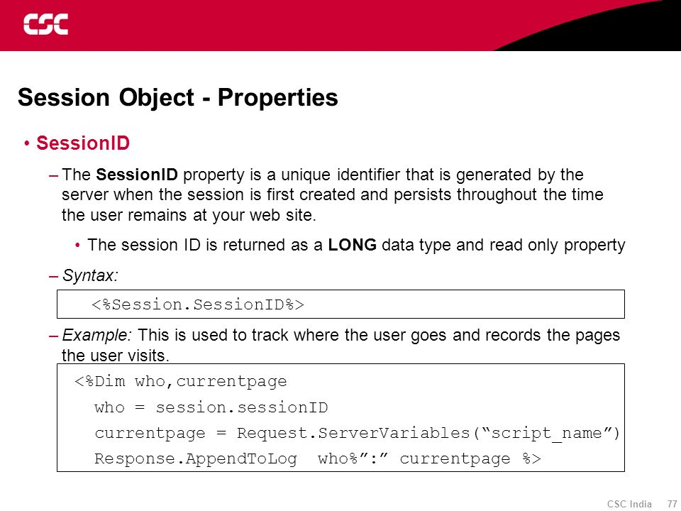 Session Object - Properties