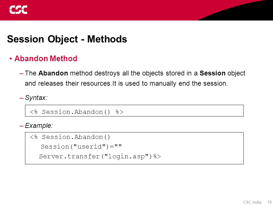Session Object - Methods