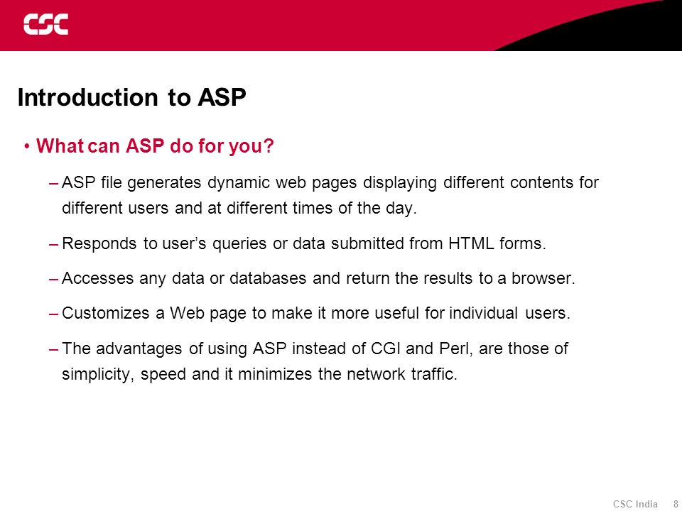 Introduction to ASP What can ASP do for you