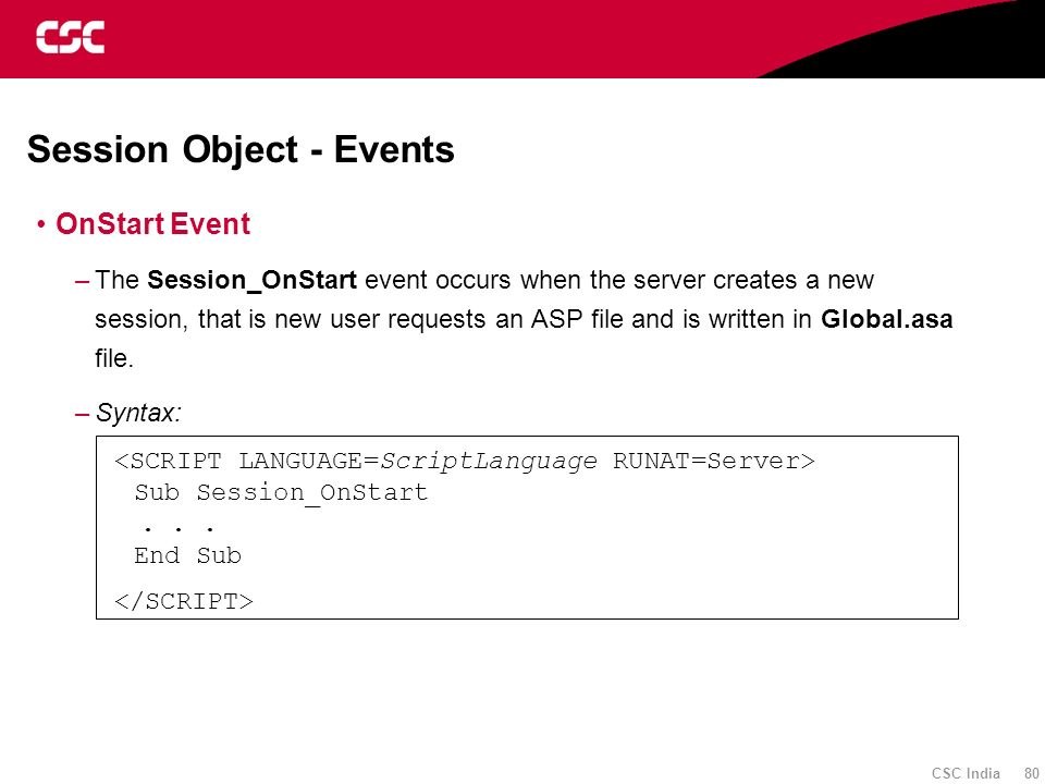 Session Object - Events