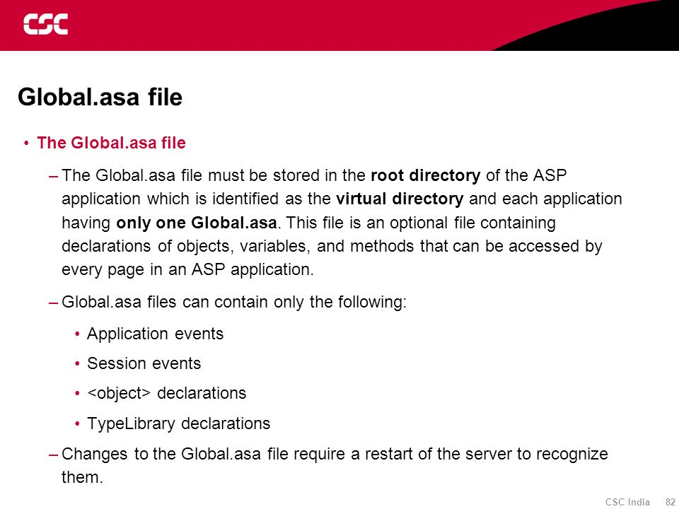 Global.asa file The Global.asa file
