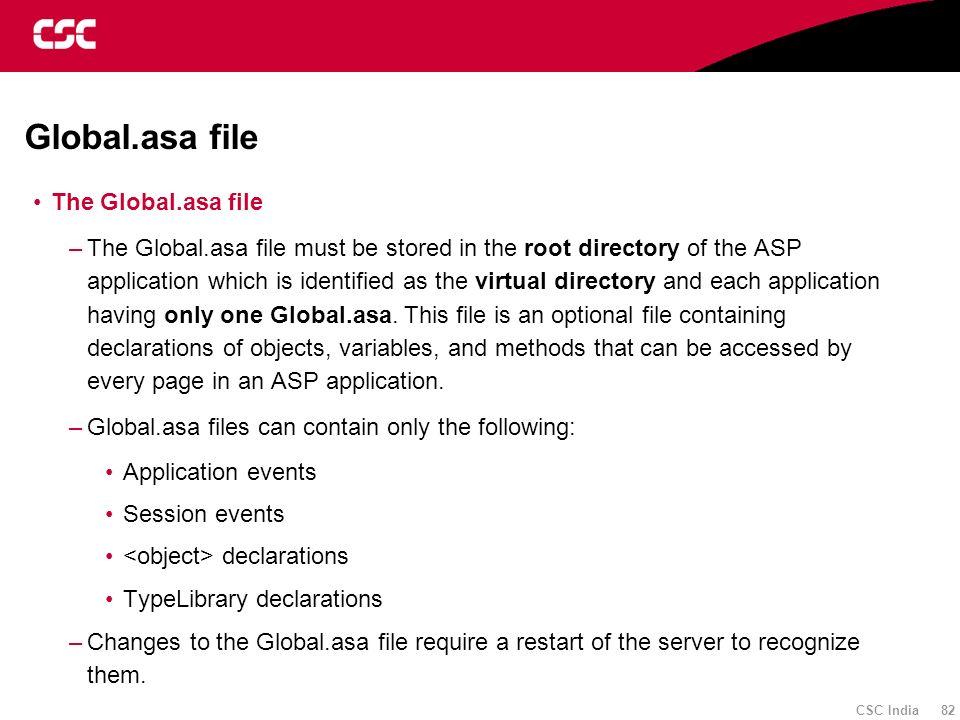 Global.asa file The Global.asa file
