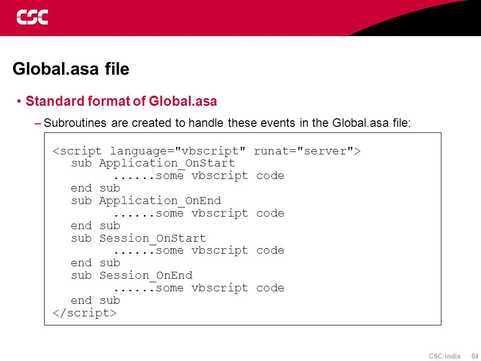 Global.asa file Standard format of Global.asa