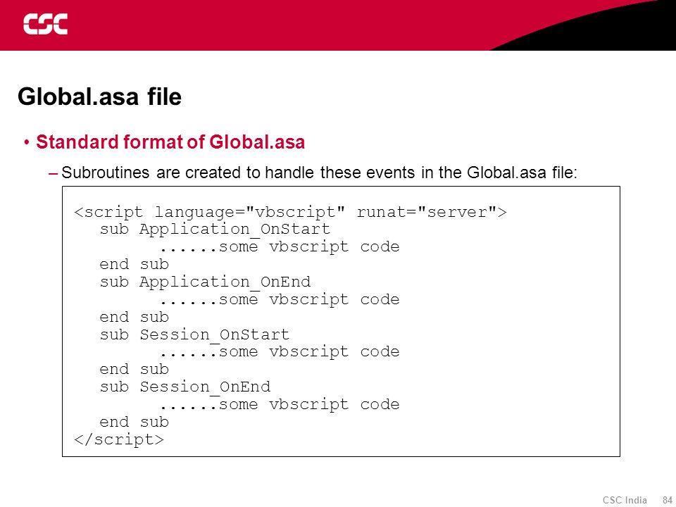 Global.asa file Standard format of Global.asa