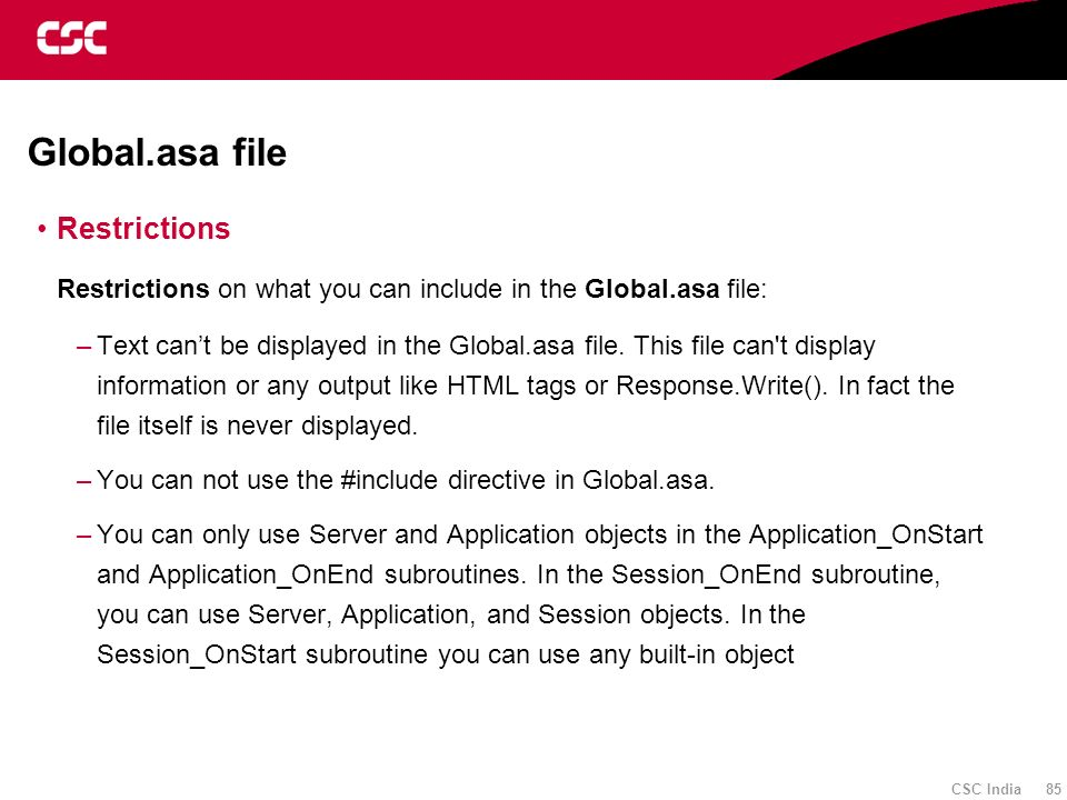 Global.asa file Restrictions