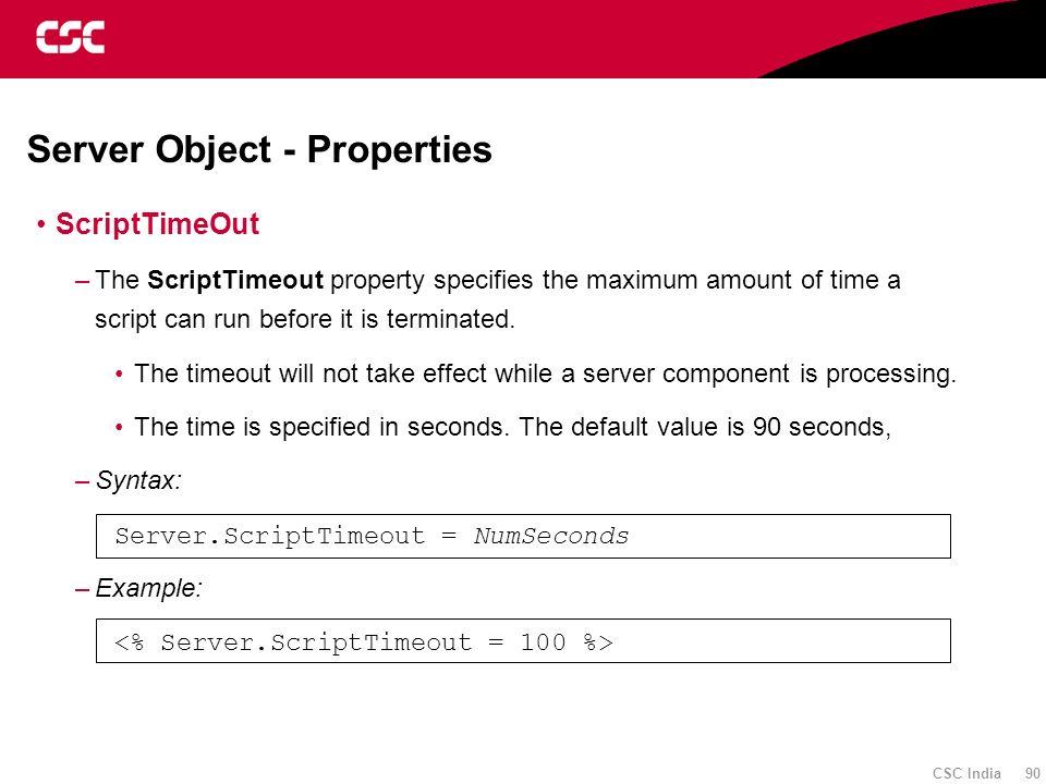 Server Object - Properties
