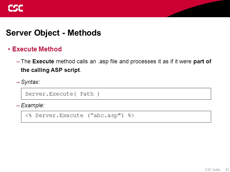 Server Object - Methods