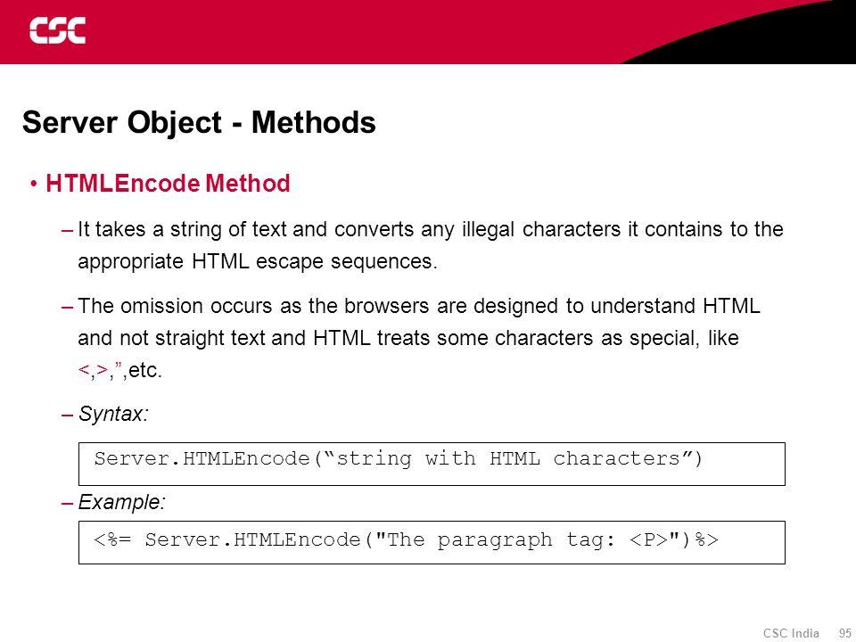 Server Object - Methods