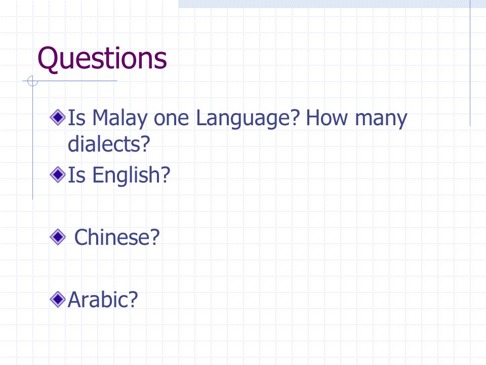 Questions Is Malay one Language How many dialects Is English