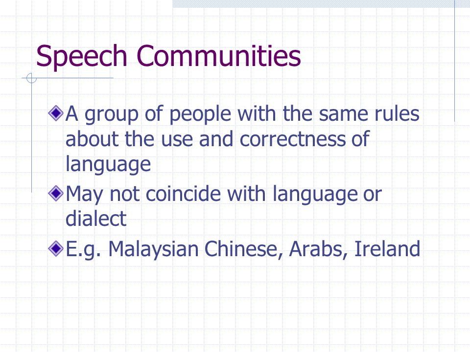 Speech Communities A group of people with the same rules about the use and correctness of language.