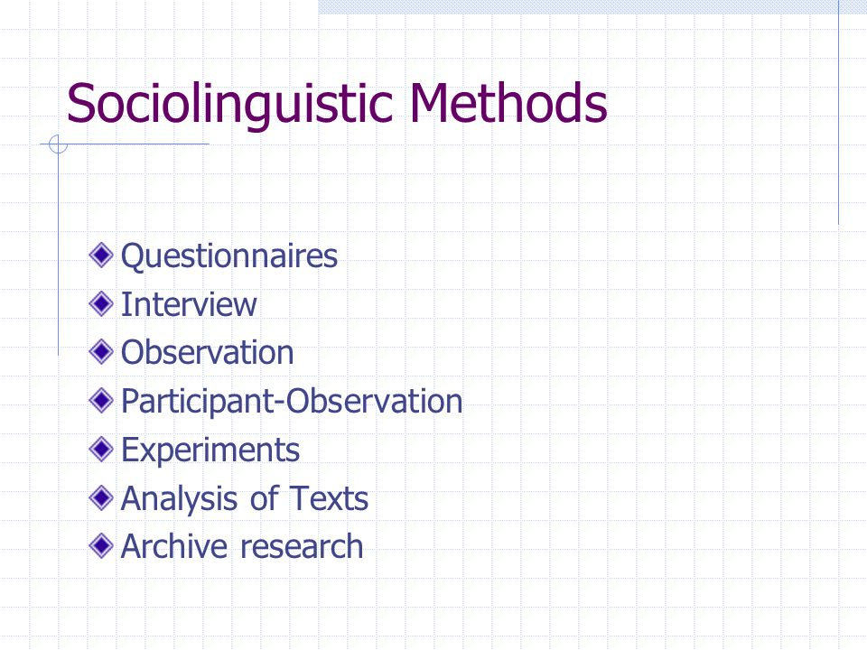 Sociolinguistic Methods