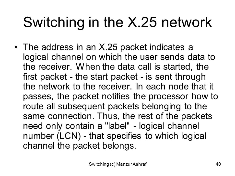 Switching in the X.25 network