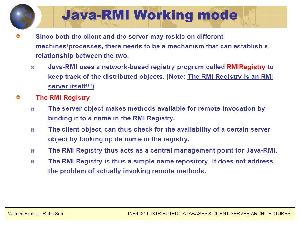 Java-RMI Working mode