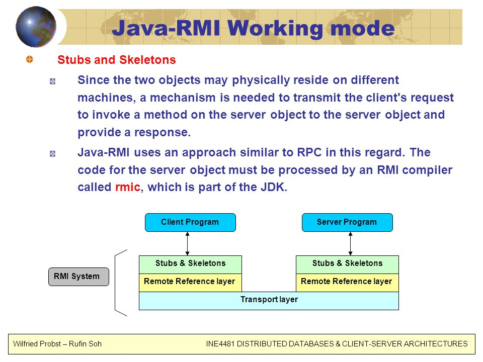 Java-RMI Working mode Stubs and Skeletons