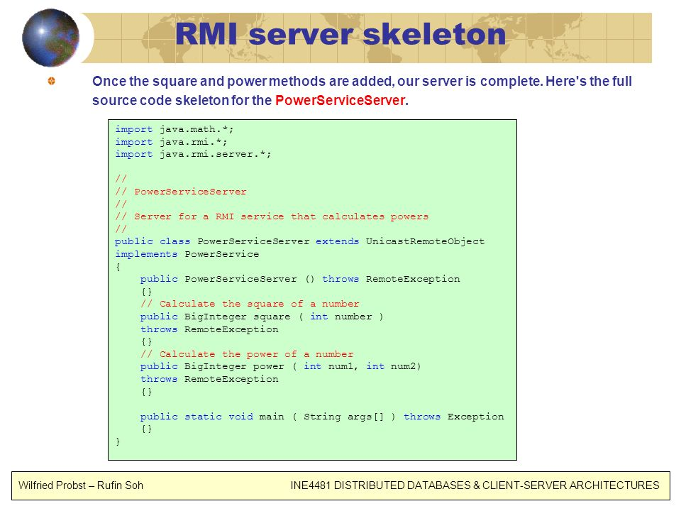 RMI server skeleton