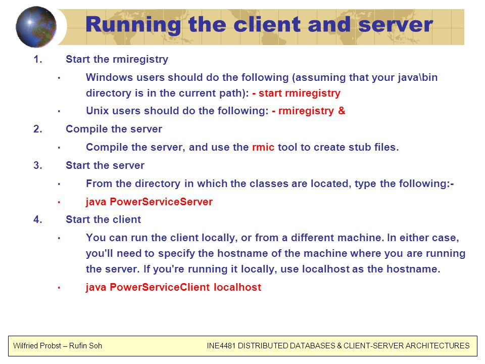 Running the client and server