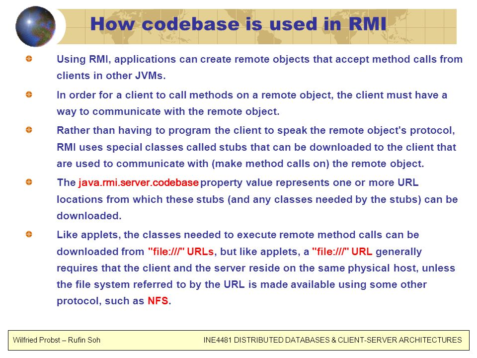 How codebase is used in RMI
