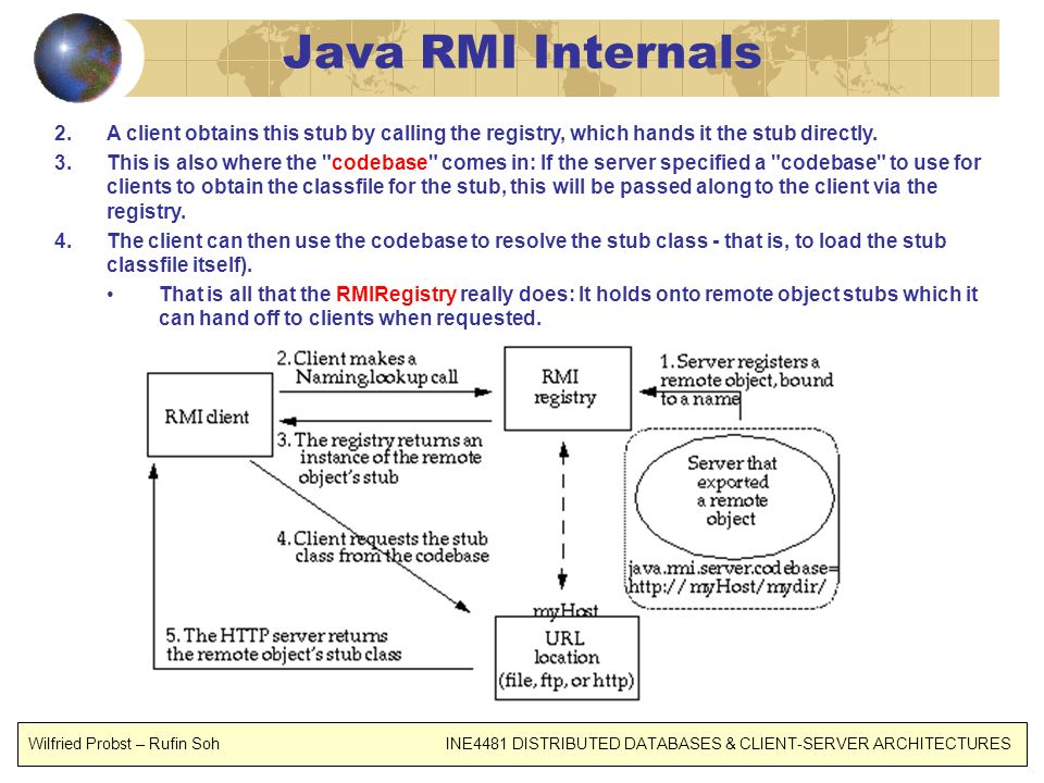 Java RMI Internals A client obtains this stub by calling the registry, which hands it the stub directly.