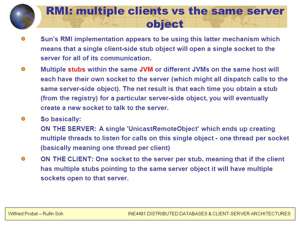 RMI: multiple clients vs the same server object