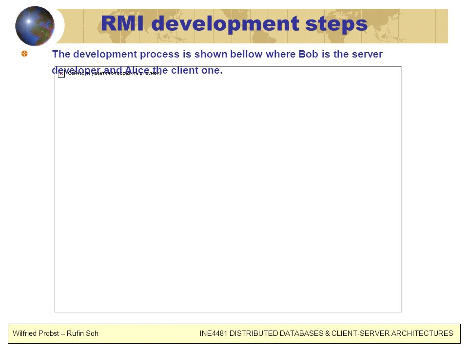 RMI development steps The development process is shown bellow where Bob is the server developer and Alice the client one.