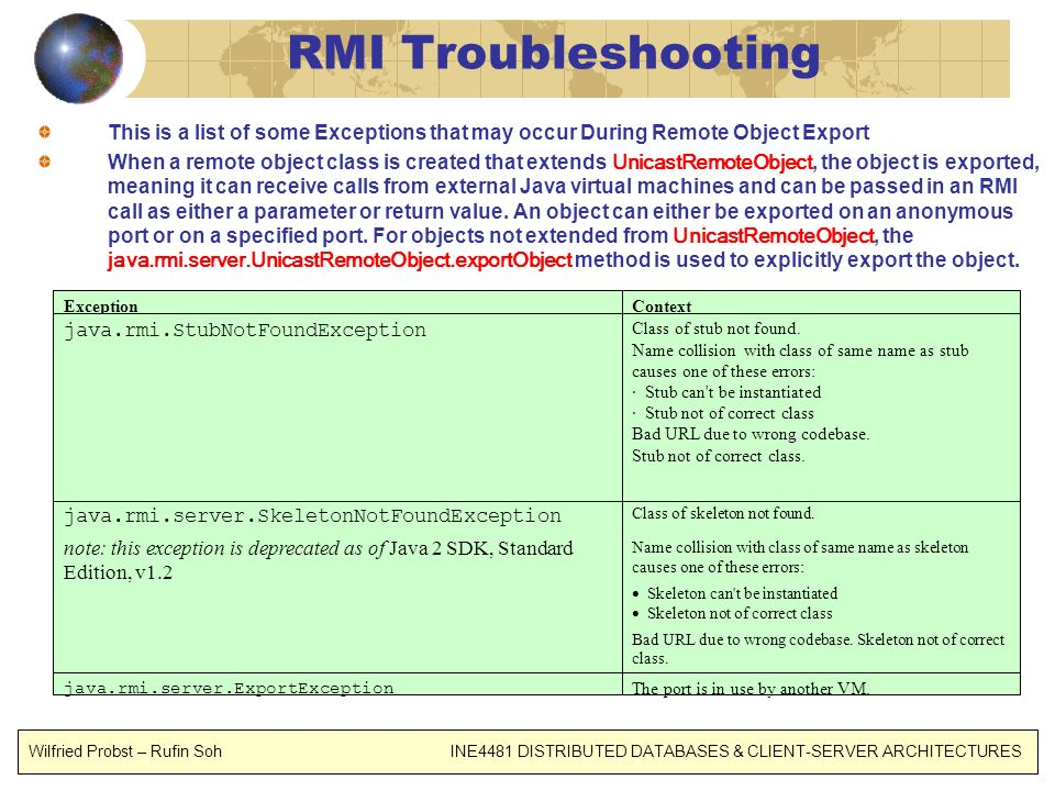 RMI Troubleshooting This is a list of some Exceptions that may occur During Remote Object Export.