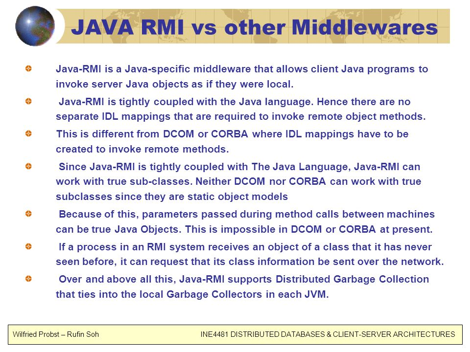 JAVA RMI vs other Middlewares