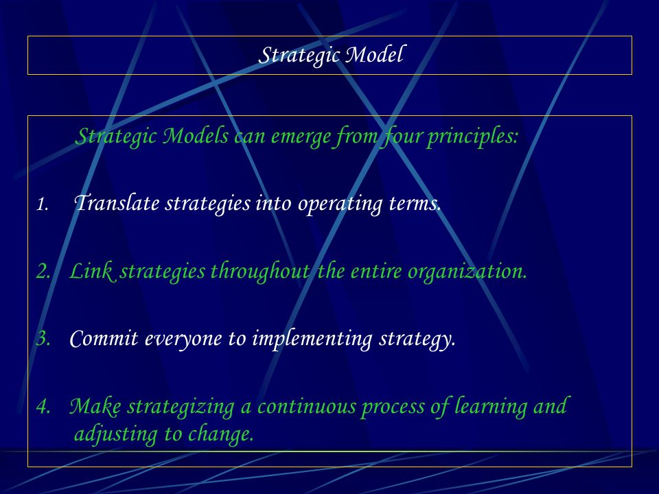 Strategic Models can emerge from four principles: