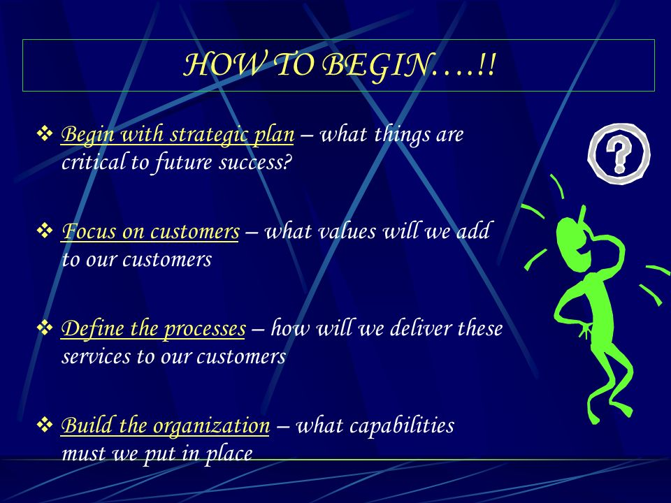 HOW TO BEGIN….!! Begin with strategic plan – what things are critical to future success