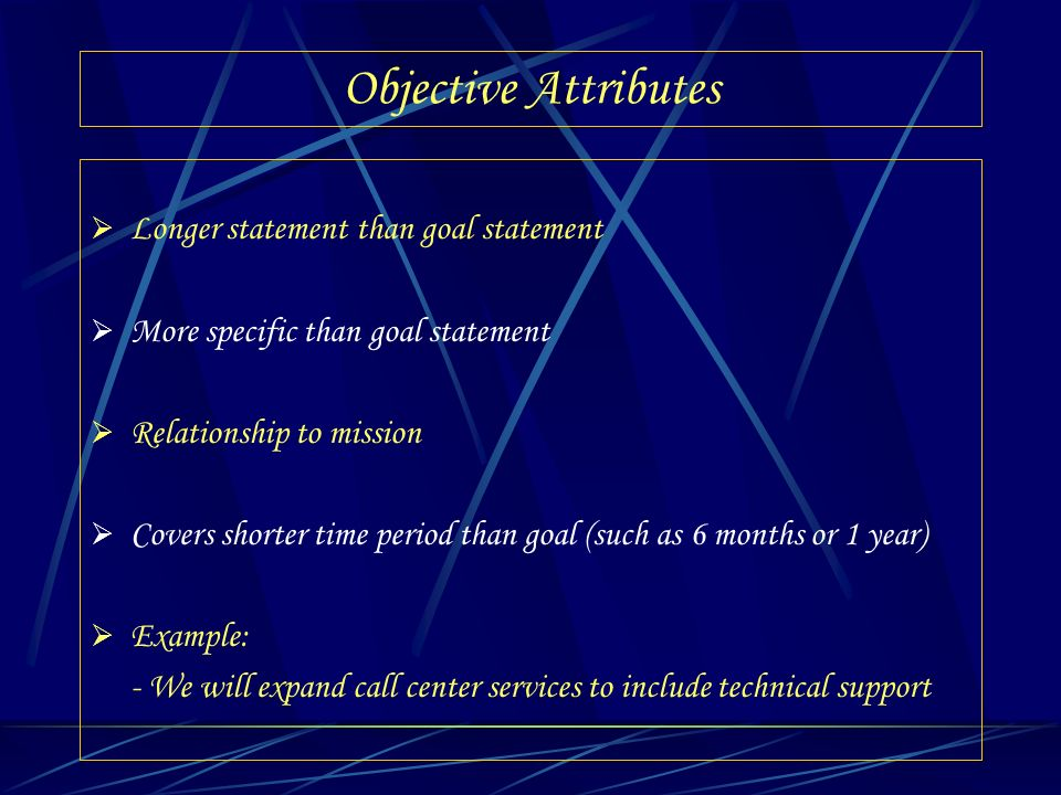 Objective Attributes Longer statement than goal statement