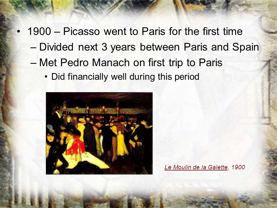 1900 – Picasso went to Paris for the first time