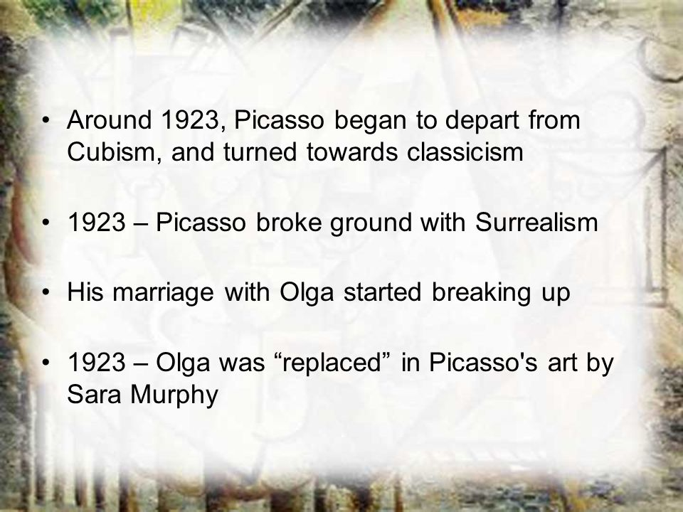 Around 1923, Picasso began to depart from Cubism, and turned towards classicism