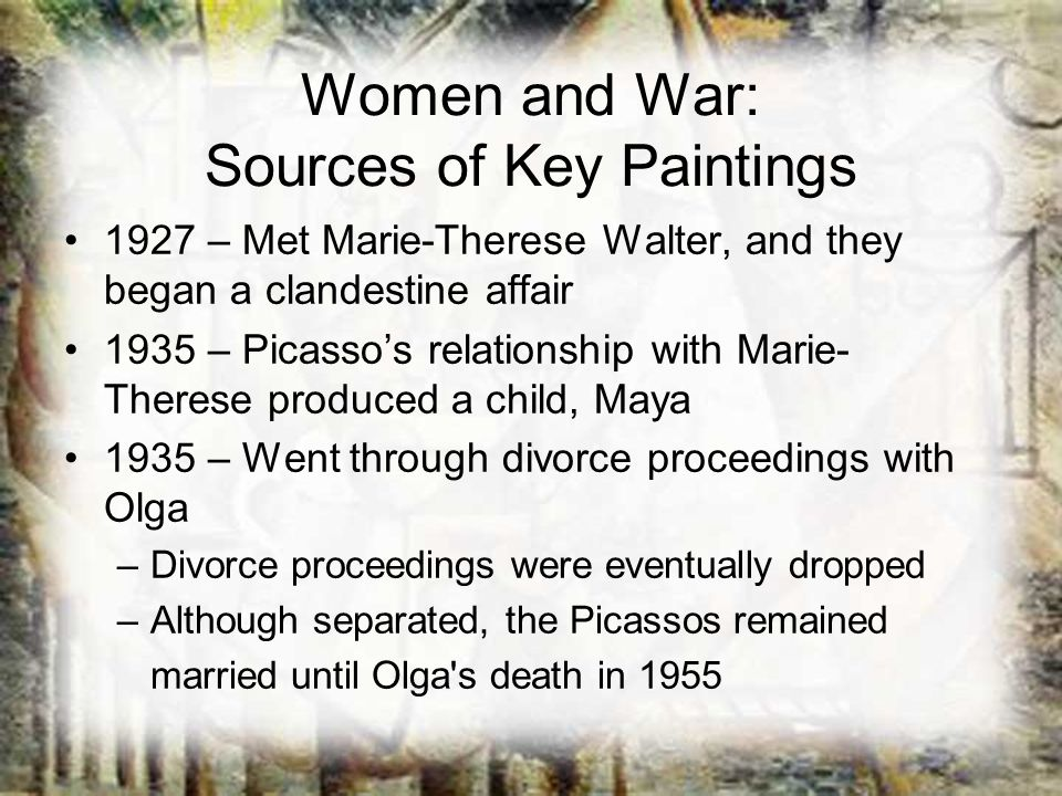 Women and War: Sources of Key Paintings