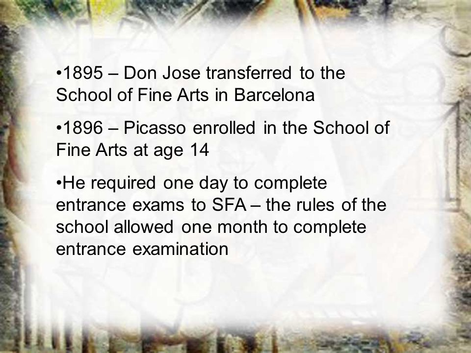 1895 – Don Jose transferred to the School of Fine Arts in Barcelona