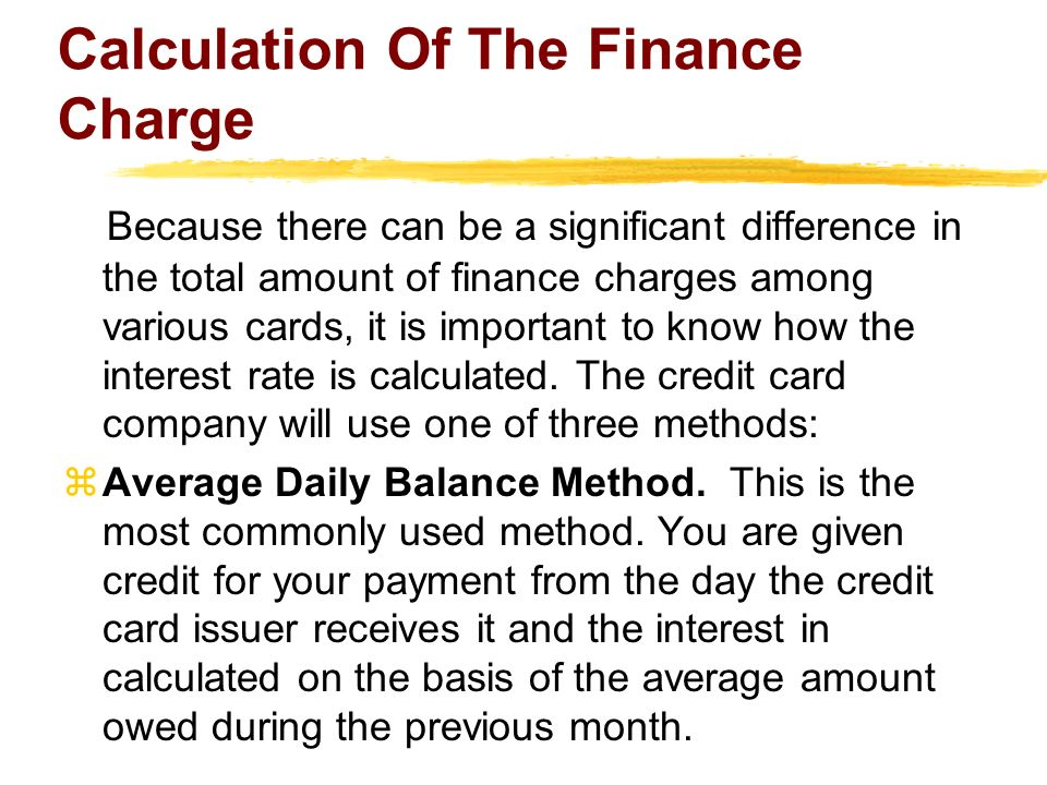 Calculation Of The Finance Charge