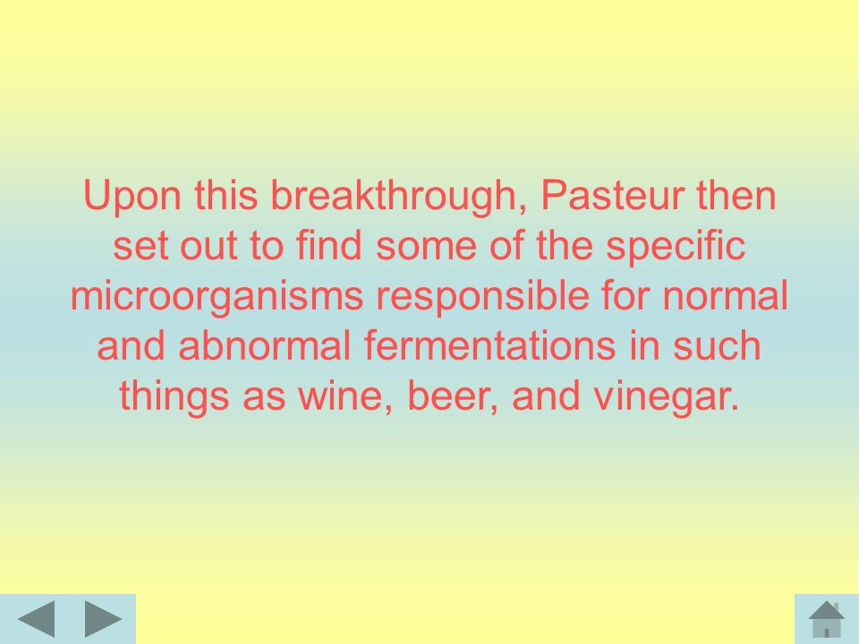 Upon this breakthrough, Pasteur then set out to find some of the specific microorganisms responsible for normal and abnormal fermentations in such things as wine, beer, and vinegar.