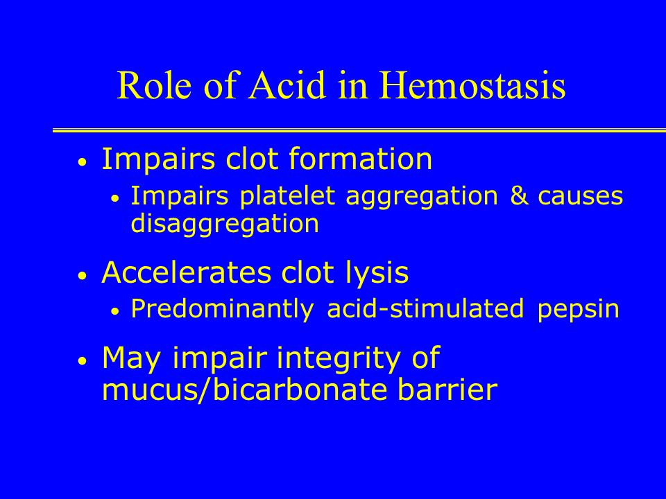 Role of Acid in Hemostasis