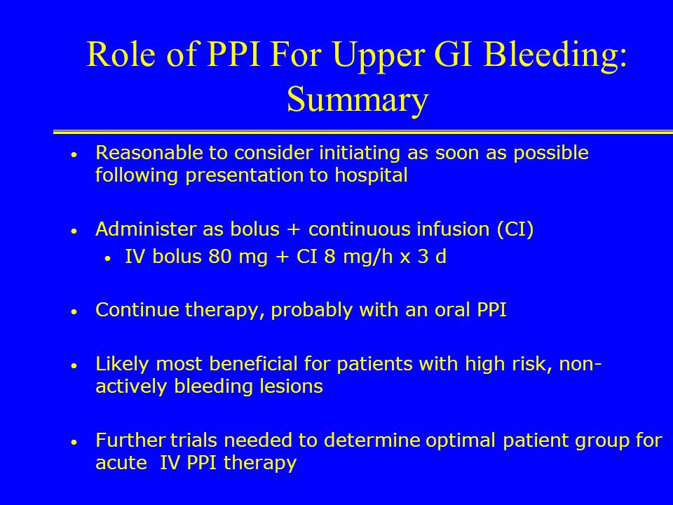Role of PPI For Upper GI Bleeding: Summary