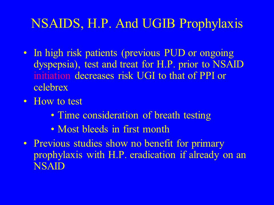 NSAIDS, H.P. And UGIB Prophylaxis