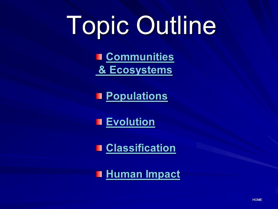 Topic Outline Communities & Ecosystems Populations Evolution