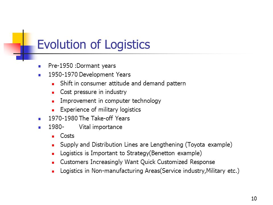 Evolution of Logistics