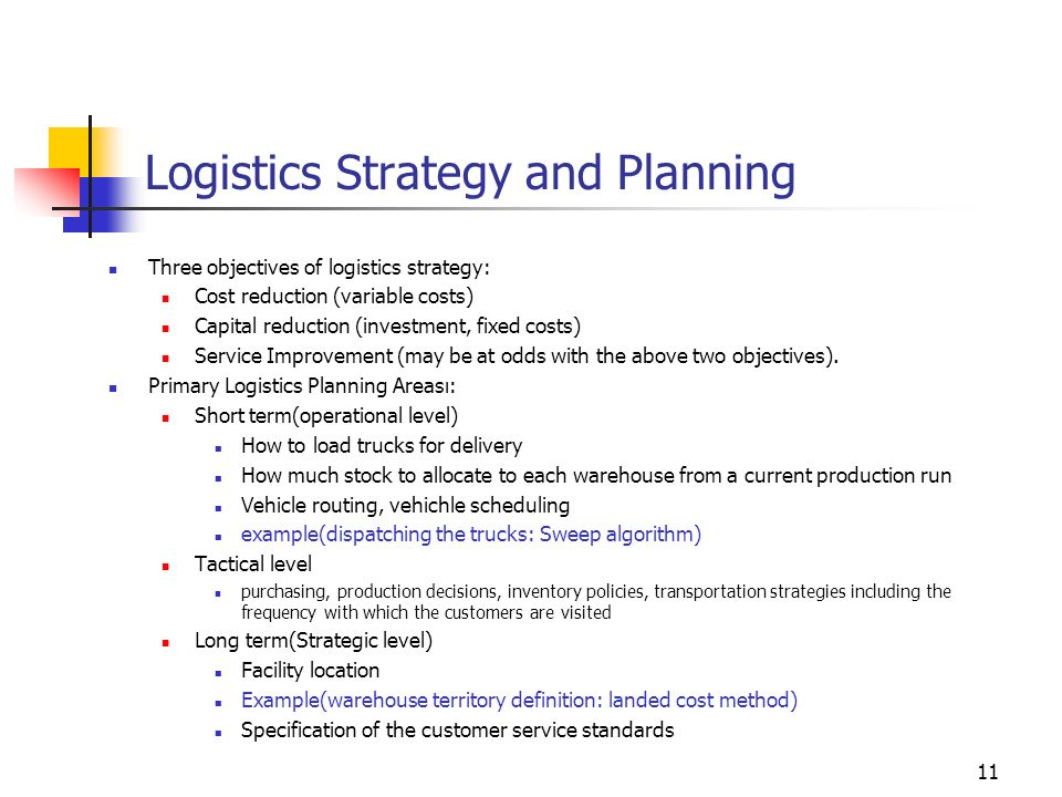 Logistics Strategy and Planning